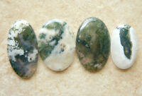 4 Moss Agate Cabochons Oval Natural Scenic Wonders Buy Singley Or Save On All 4