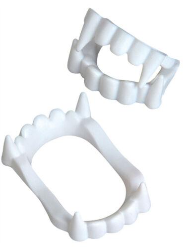 Set of 12 White Economy Plastic Costume Accessory Vampire Werewolf Fangs Teeth