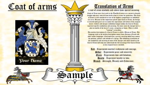 Card-Mccard COAT OF ARMS HERALDRY BLAZONRY PRINT