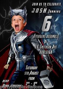 Thor photo invitation avengers superhero birthday invitation image is loading thor photo invitation avengers superhero birthday invitation marvel stopboris Images