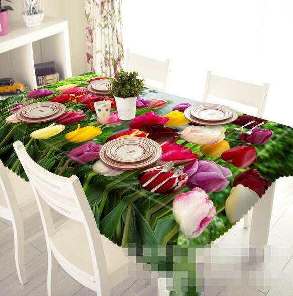 3D Couleur Tulips 7 Tablecloth Table Cover Cloth Birthday Party Event AJ WALLPAPER