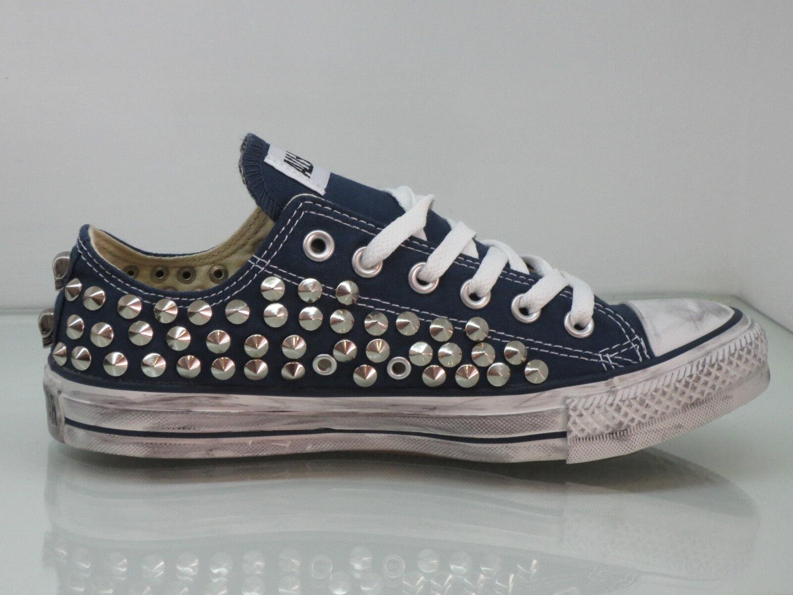 Converse all star star star OX  borchie teschi  scarpe  bianco optical white artigianali e5f1d3