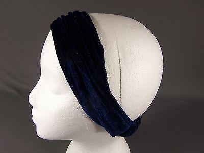 Navy Blue velvet velour fabric scrunched stretch kerchief headband 3in1 bandana