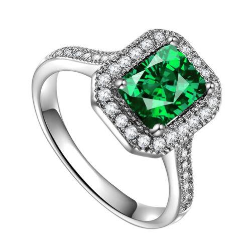 Fashion Square Shape 2.85ct Emerald 925 Silver New Ring Size 6-10