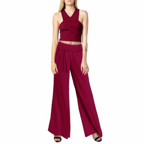 Ladies Fashion Crinkle Pleated Stretchy Belted Palazzo Evening Suit Trouser Pant