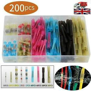 200X-Assortment-Heat-Shrink-Butt-Wire-Connectors-Waterproof-Solder-Sleeve-w-Box