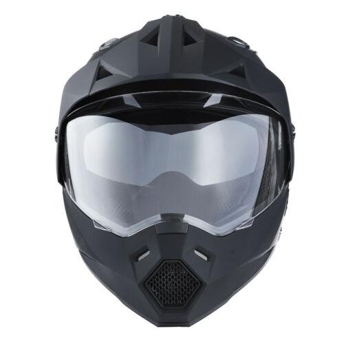 Dual Sport Dual Visor Motorcycle Motocross Full Face Helmet MattBlack