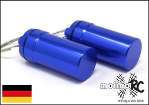 2x-Geocaching-Versteck-Nano-Pillendose-Alu-Container-Micro-Cache-blau-4-5-x-2-cm