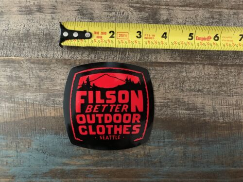 """Filson Better Outdoor Clothing Seattle Black Red Sticker//Decal Climb Approx 3/"""""""