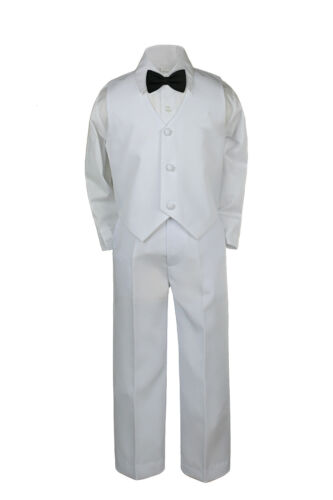 4pc Black White Toddler Boy Wedding Formal Party Bow tie Necktie Vest Suit Sm-20