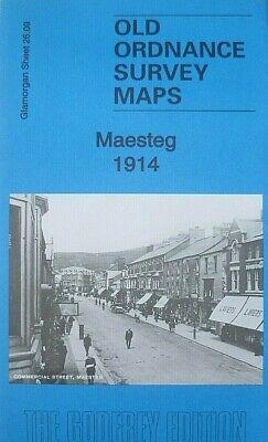 OLD ORDNANCE SURVEY MAP MAESTEG 1914 TOWN CENTRE ST DAVIDS CHURCH TRAMWAYS