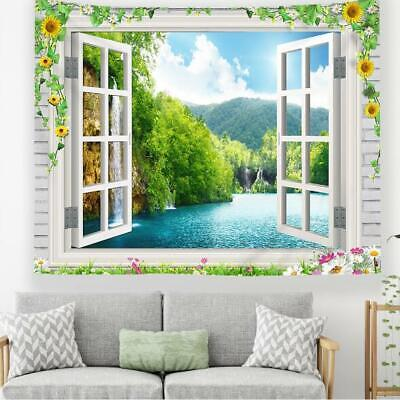 3D Window Forest R362 Tapestry Hanging Cloth Hang Wallpaper Mural Photo Zoe