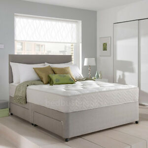 Memory foam divan bed set with mattress and headboard 3ft for Small double divan bed with headboard