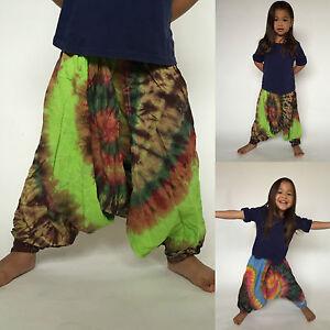 CHILDREN/'S GIRLS HAREM FESTIVAL DUNGAREES BOHO HIPPIE SIZE M FLORAL KIDS BAGGY