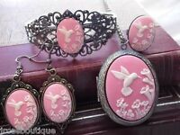 Pink Hummingbird Cameo Locket Necklace Ring Bracelet Earring Set Wedding Party