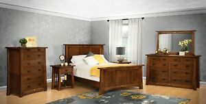 Amish 5-Pc Bedroom Set Arts & Crafts Mission Solid Wood Tenons Ginkgo Inlays