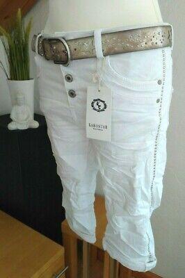 Karostar Big Size Chino Boyfriend Bermuda 3/4 Strass Nieten Jeans Hose Weiß Um Jeden Preis