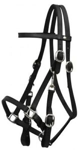 BLACK-Leather-Combination-Halter-Bridle-w-7-039-Split-Reins-NEW-HORSE-TACK