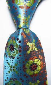 New-Classic-Geometric-Sea-Blue-Orange-JACQUARD-WOVEN-100-Silk-Men-039-s-Tie-Necktie