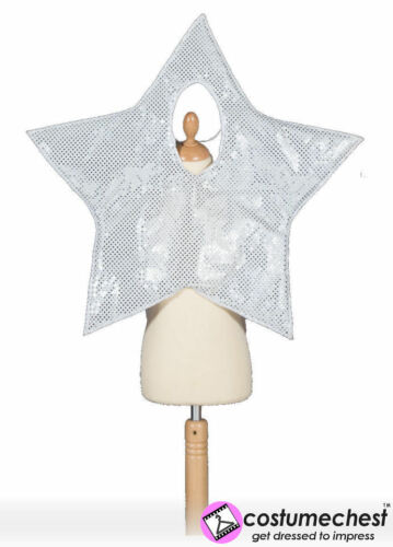 Girl Boy Silver Star Christmas Nativity Play Tabard Hat Costume Party 3-7 Years