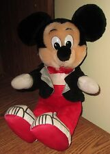 "Vintage Mickey Mouse Plush Stuffed 12"" Stuffed Animal Disney Tux w/ Tennis Shoes"