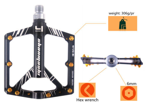Aluminum Road MTB Mountain XC Bike Pedal 4 Sealed Bearing Flat-Platform Pedals