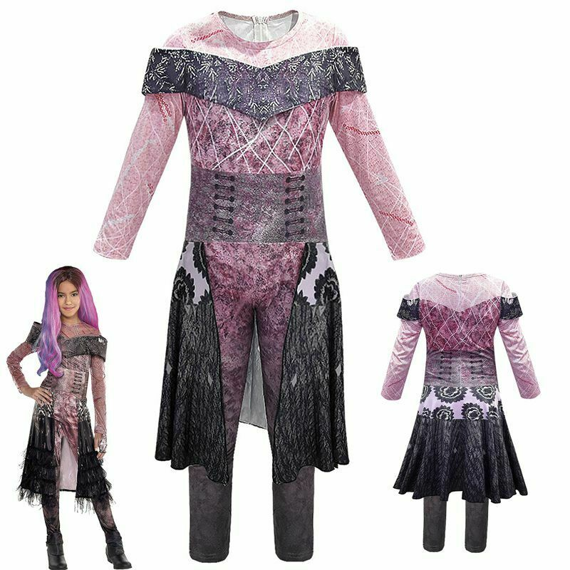 Descendants 3 Evie Costume Kids Halloween Cosplay Jumpsuits+Gloves Fancy Outfit@