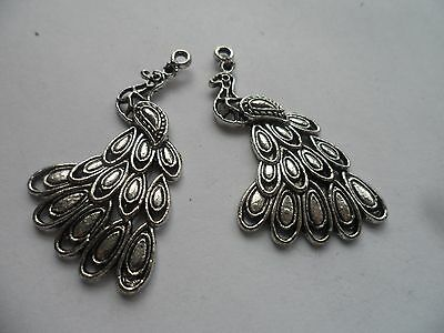 2  Anique Silver Peacock Charms,Pendanst,Jewellery,crafting,scrapbooking 40x24mm