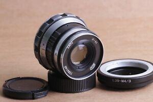 Industar-61-2-8-52-Zebra-Objektiv-m39-Fed-Zorki-Olympus-Lumix-Adapter-Micro-4-3
