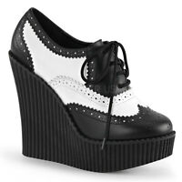 Demonia Creeper 307 Ladies Black White Wedge Platform Vegan Leather Brogue Shoes