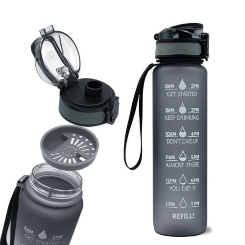Sports Water Bottle with Time Marker BPA Free /& Leak proof Portable H1U5