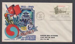 US-Sc-2152-FDC-1985-22c-Korean-War-Veterans-Fluegel-Color-Cachet-VF