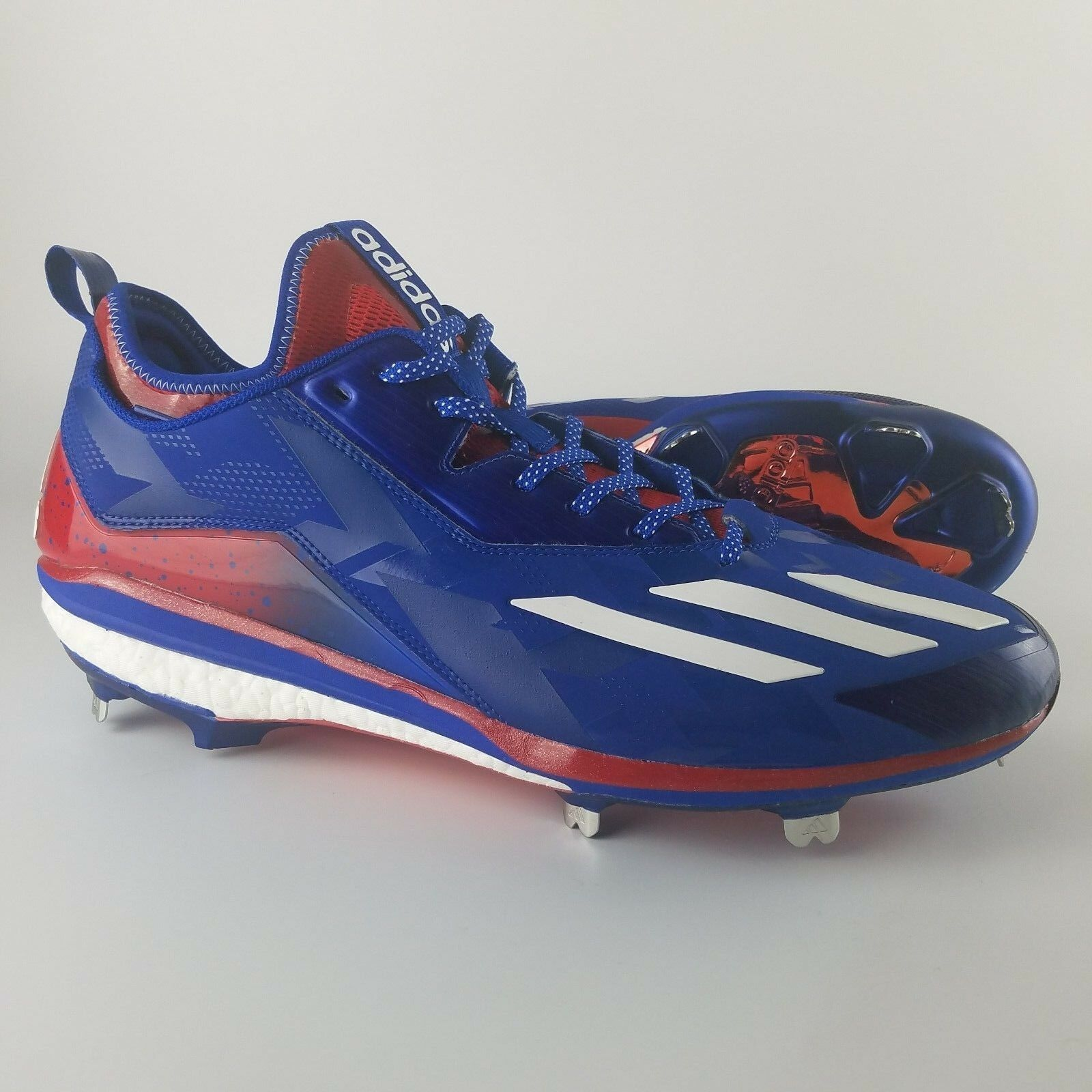 Adidas Boost Icon 2.0 Metal Baseball Cleats Uomo Size 14 Kris Bryant Red Blue