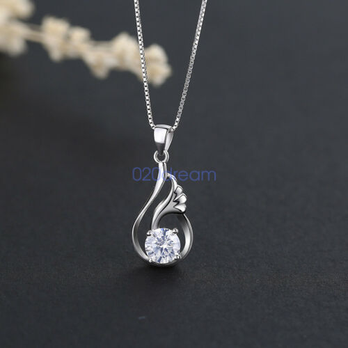 925 Sterling Silver CZ Pendant Necklace Charm Jewelry Box Chain  Ladies Gift