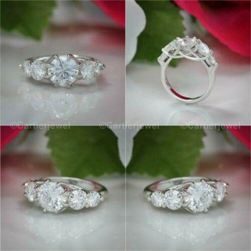 Moissanite Unique Engagement Ring Solid 14K White Gold 2.30 Ct Excellent Round