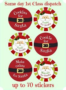 Details About Christmas Cookies For Santa Stickers Labels Sweet Cones Xmas Seal Tags X84