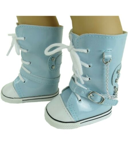 "Light Blue High Tops Shoes Sneakers fit 18/"" American Girl Size Doll"