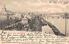 Landsberg an der Warte Eisenbahnbrücke, Boote Sonnenaufgang Postkarte 1901