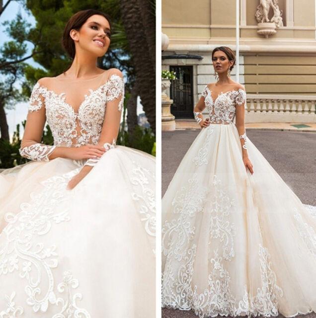 White Ivory Wedding Dresses Bridal Gown Sweetheart Neck Long Sleeve Lace  Vintage Christmas gift eb4c757864