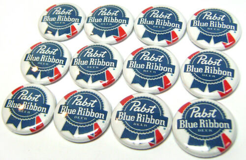 """12 PABST BEER Buttons Pinbacks 1/"""" Pins One Inch Badges BLUE RIBBON PBR Rab Punk"""