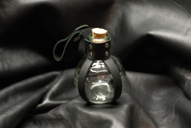 Glass w/ Black Leather Potion Bottle Renaissance Pirate LARP