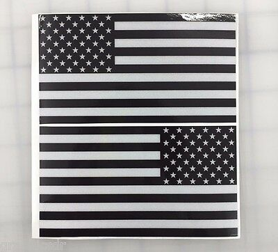 "5"" American Flag 3M REFLECTIVE Black/White Stickers (x2) Decal USA Police Fire"