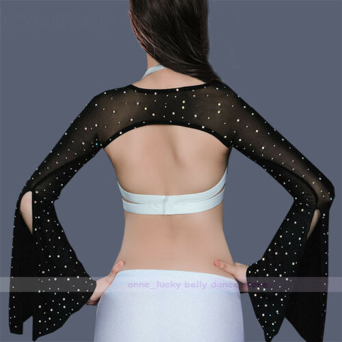 New Women Belly Dance Costume Diamond Butterfly Sleeve Shrug Arm Gloves 9 colors