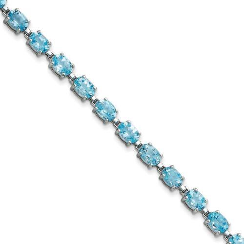 """Argent Sterling 925 6 mm Poli et Rhodium Plaqué Topaze Bleue Bracelet 7/"""""""
