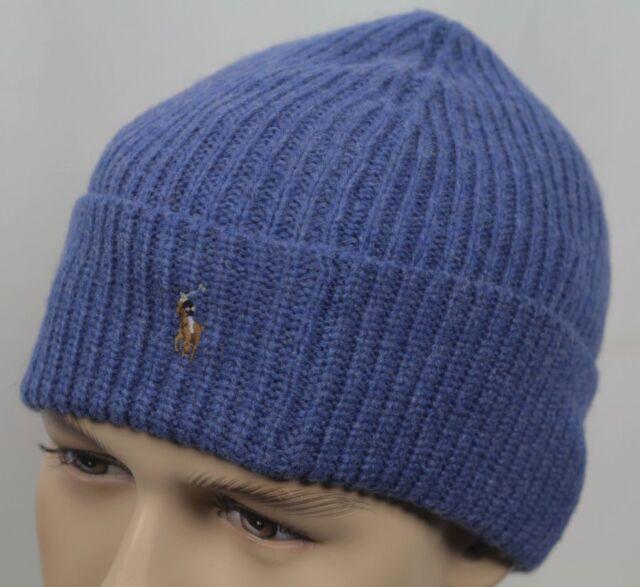 d45918a04d2 Polo Ralph Lauren Beanie Winter Hat Cap Wool Nylon Night Blue Beany ...