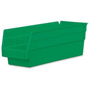 Akro-Mils Shelf Bin 11-5/8D x 4-1/8W x 4H Green 24 pack