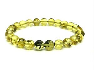 Natural-BALTIC-AMBER-BRACELET-Round-Beads-Polished-Elastic-Ladies-5-9g-12723