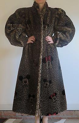 UNIQUE MICKEY MINNIE MOUSE LEOPARD PRINT LONG FAUX FUR COAT made in FRANCE S/XS