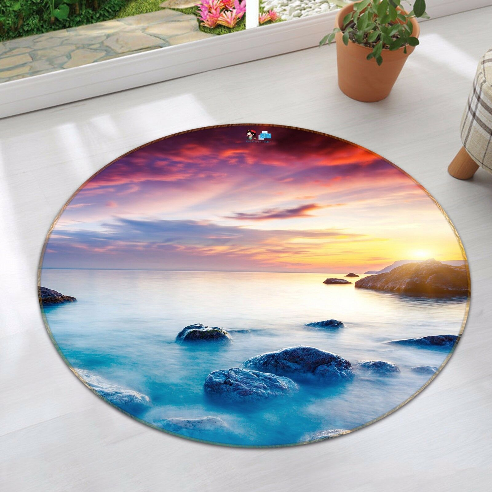 3D Stones Sunset Sea 832 Non Slip Rug Mat Room Mat Round Elegant Photo Carpet CA