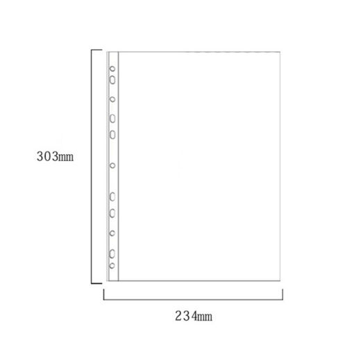 100Pcs A4 Plastic Punched Pockets Folders Loose Leaf Document Protector Bags New